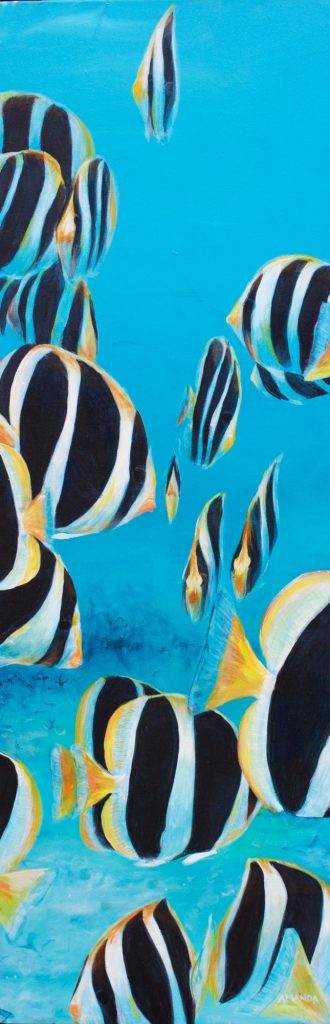 (No37) Butterfly fish [ Acrylic on Canvas ] 120cm x 41cm